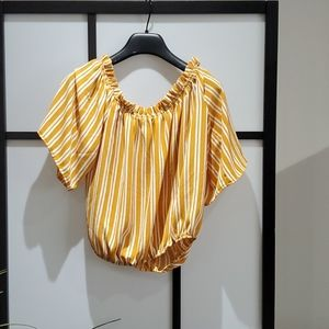 Yellow and white stripes top